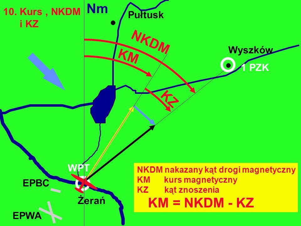 Nm NKDM KM KZ KM = NKDM - KZ 10. Kurs , NKDM Pułtusk i KZ Wyszków