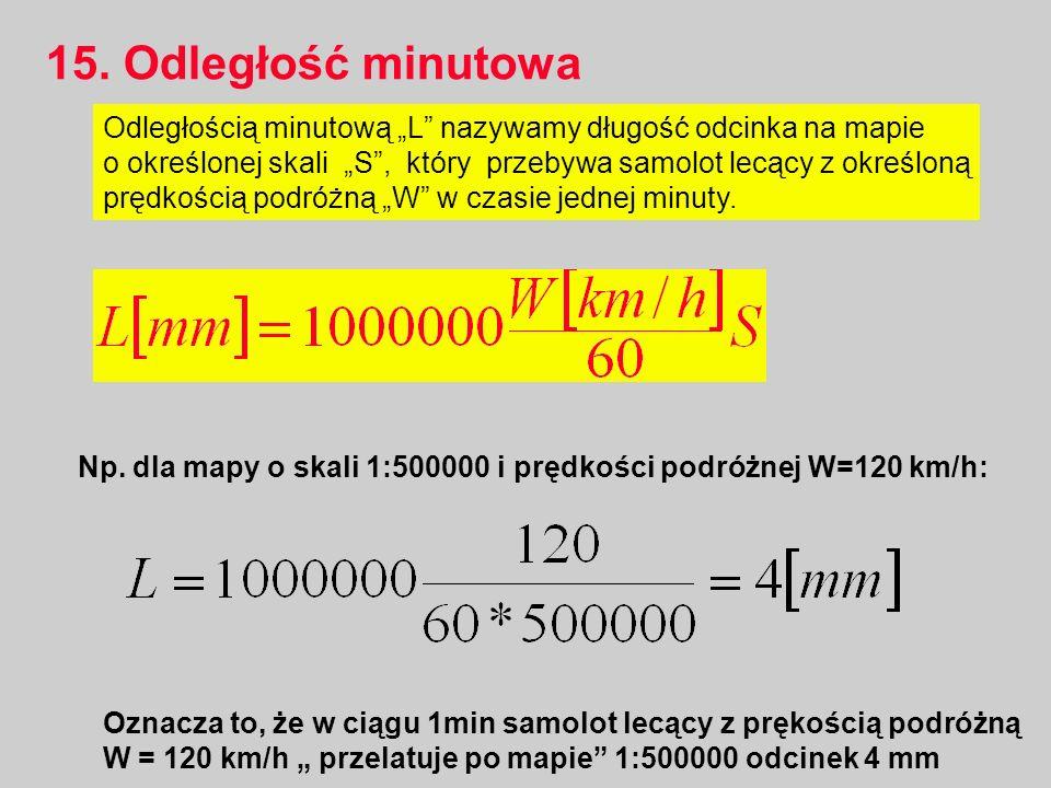 """15. Odległość minutowa Odległością minutową """"L nazywamy długość odcinka na mapie."""