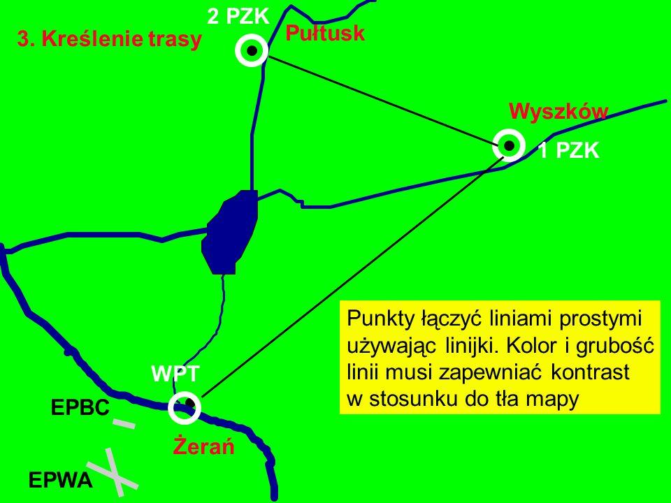 2 PZK Pułtusk. 3. Kreślenie trasy. Wyszków. 1 PZK. Punkty łączyć liniami prostymi. używając linijki. Kolor i grubość.