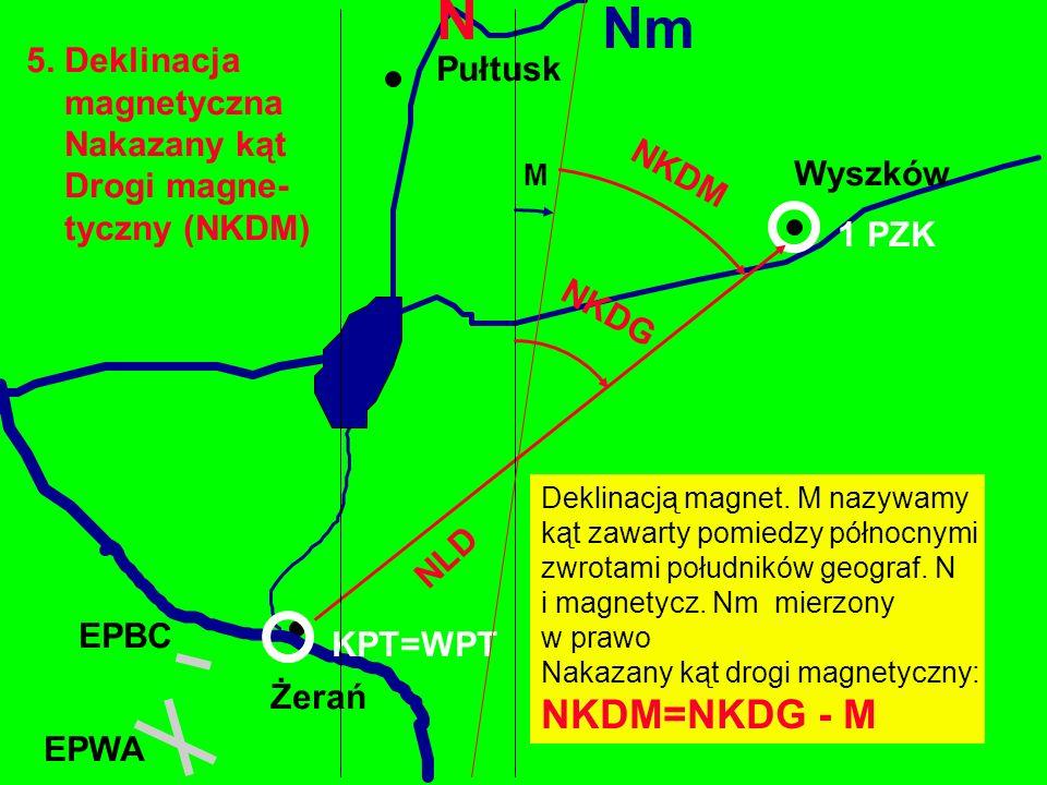 N Nm NKDM=NKDG - M 5. Deklinacja Pułtusk magnetyczna Nakazany kąt