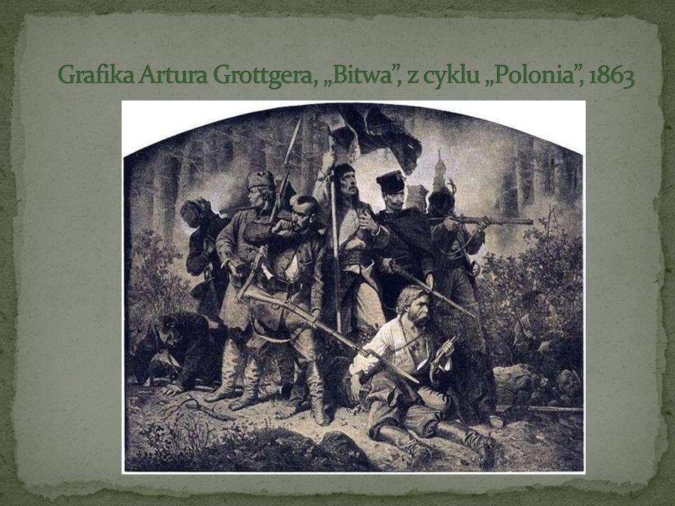 "Grafika Artura Grottgera, ""Bitwa , z cyklu ""Polonia , 1863"