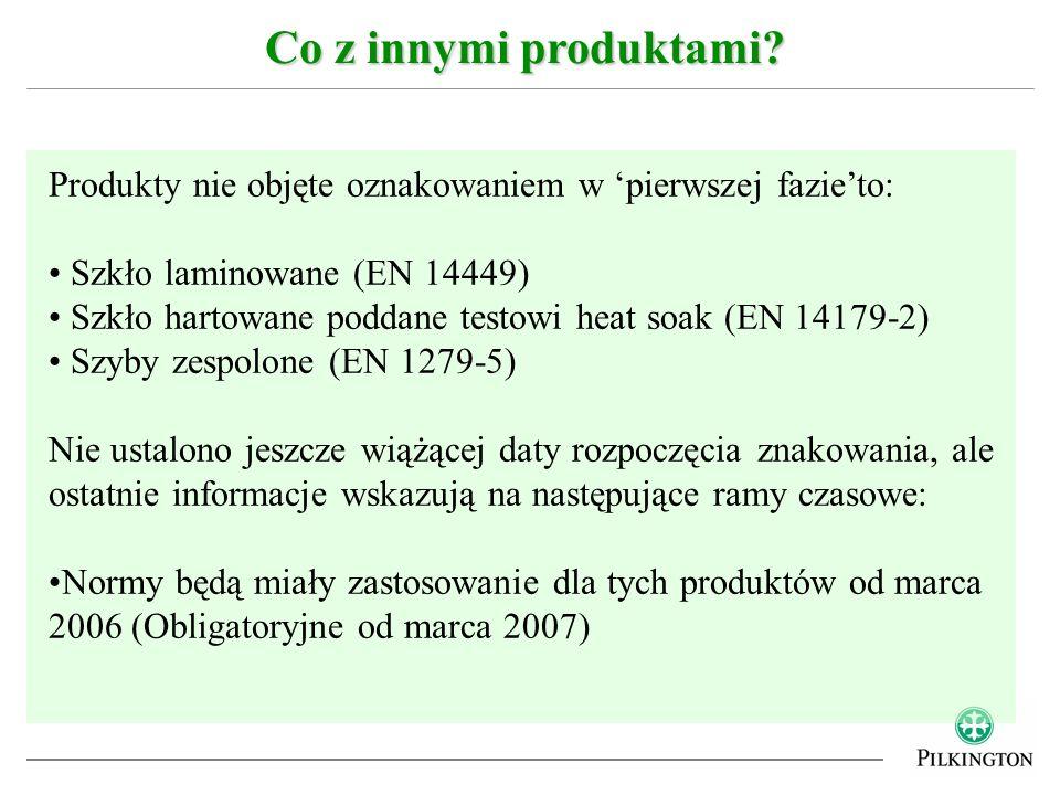 Co z innymi produktami Produkty nie objęte oznakowaniem w 'pierwszej fazie'to: Szkło laminowane (EN 14449)