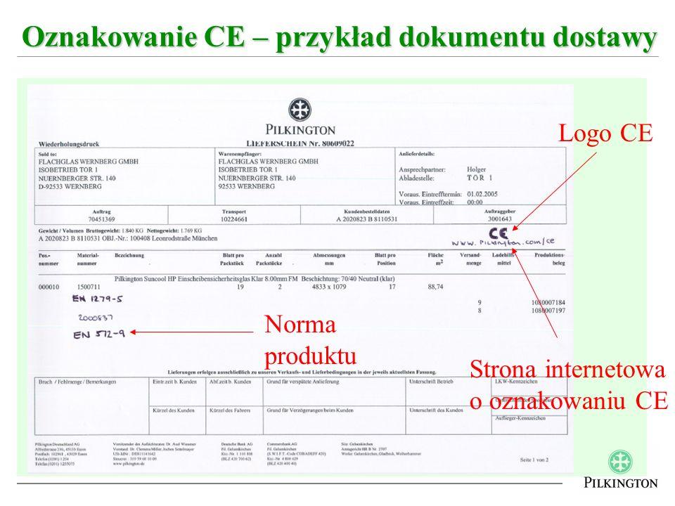 Oznakowanie CE – przykład dokumentu dostawy