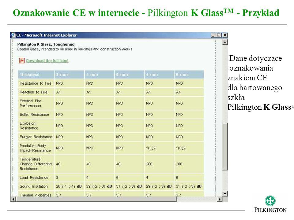 Oznakowanie CE w internecie - Pilkington K GlassTM - Przykład