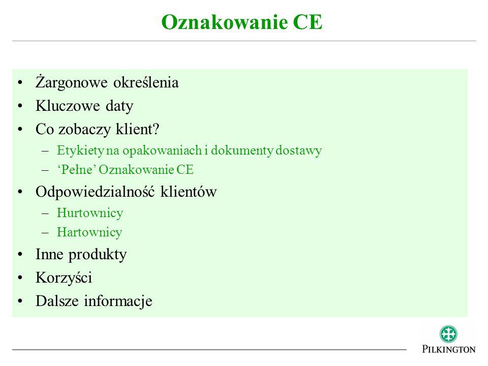 Oznakowanie CE Żargonowe określenia Kluczowe daty Co zobaczy klient