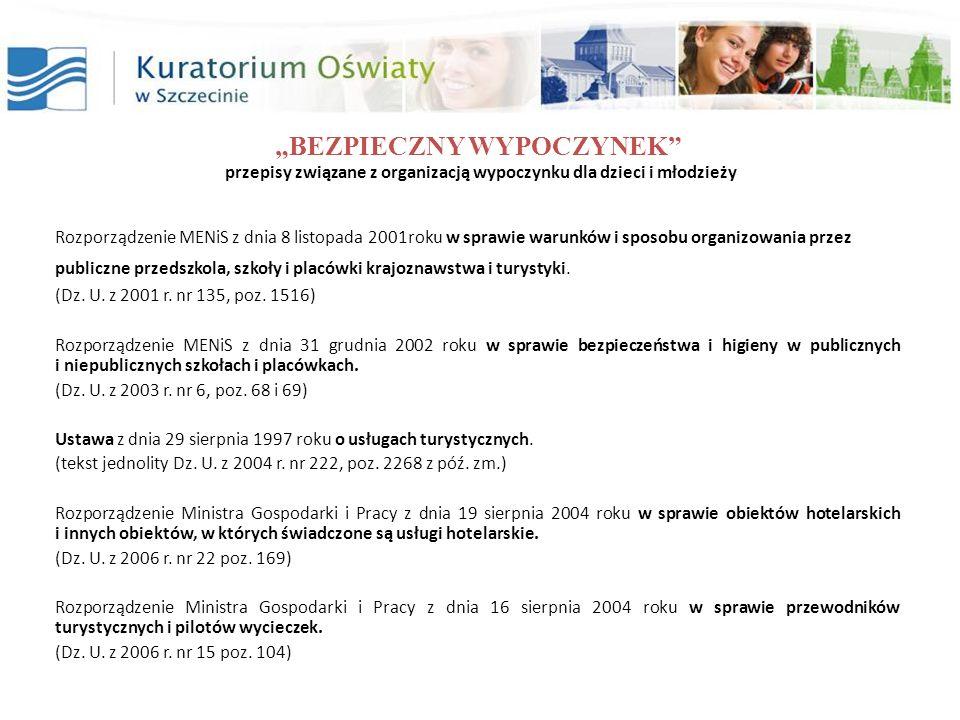 """""""BEZPIECZNY WYPOCZYNEK przepisy związane z organizacją wypoczynku dla dzieci i młodzieży"""