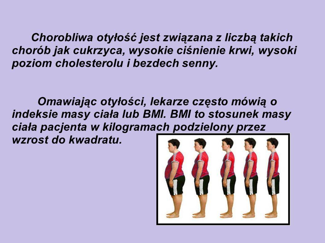 Chorobliwa otyłość jest związana z liczbą takich chorób jak cukrzyca, wysokie ciśnienie krwi, wysoki poziom cholesterolu i bezdech senny.