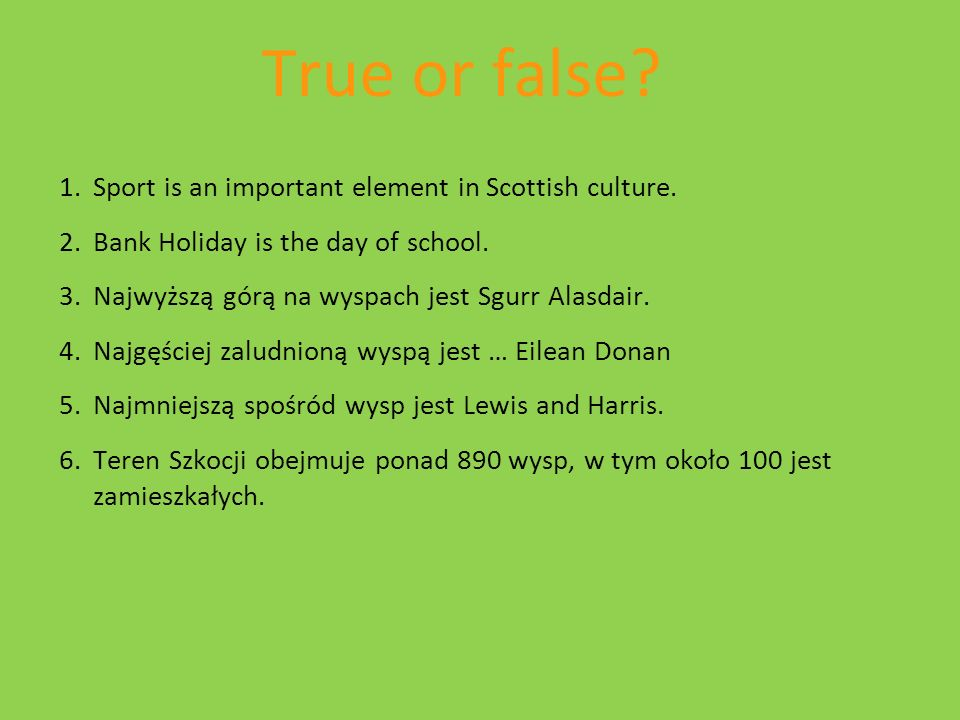True or false Sport is an important element in Scottish culture.