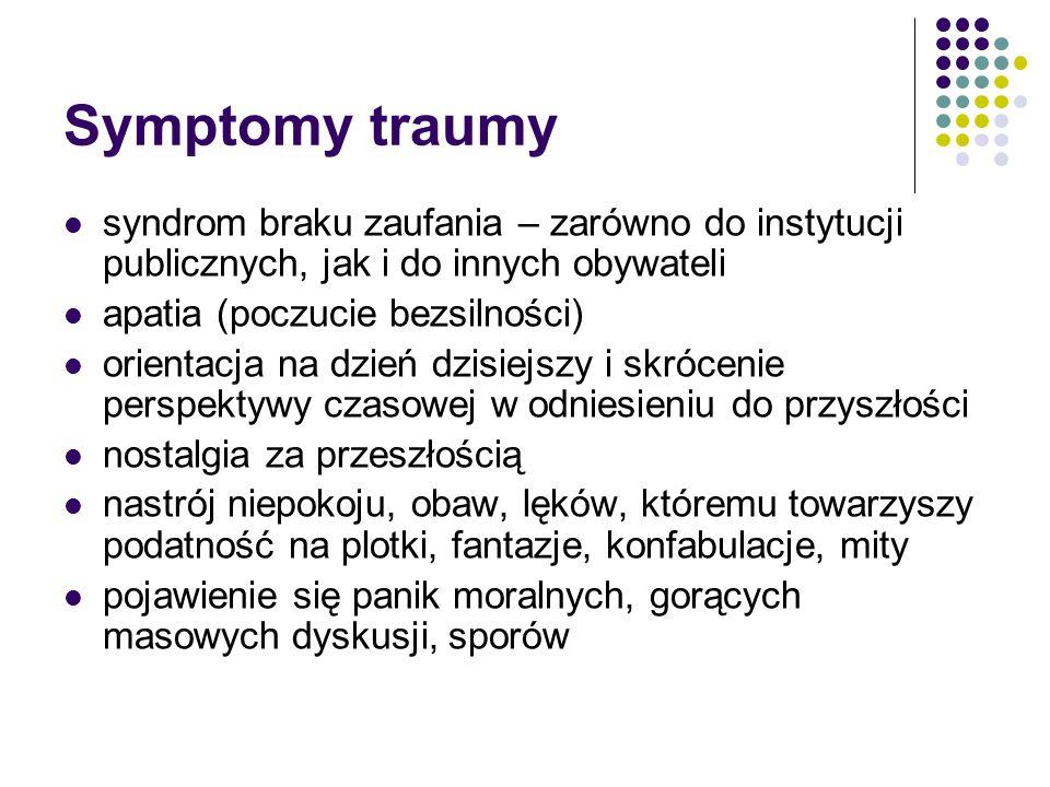 Symptomy traumy syndrom braku zaufania – zarówno do instytucji publicznych, jak i do innych obywateli.