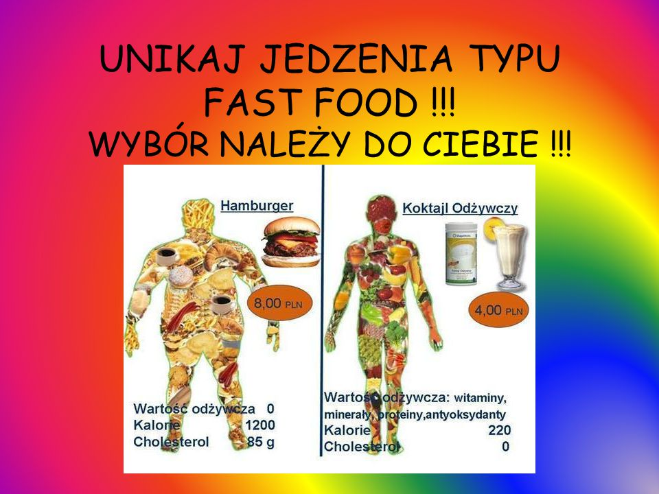 UNIKAJ JEDZENIA TYPU FAST FOOD !!! WYBÓR NALEŻY DO CIEBIE !!!
