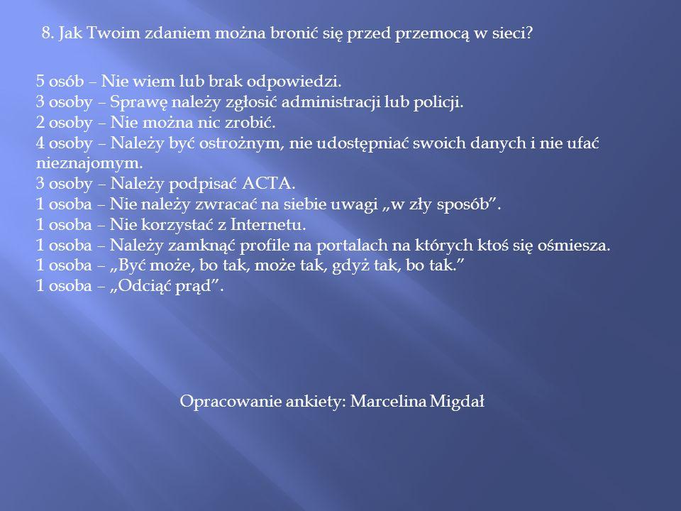 Opracowanie ankiety: Marcelina Migdał