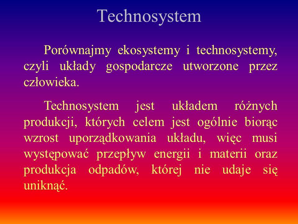 TechnosystemPorównajmy ekosystemy i technosystemy, czyli układy gospodarcze utworzone przez człowieka.
