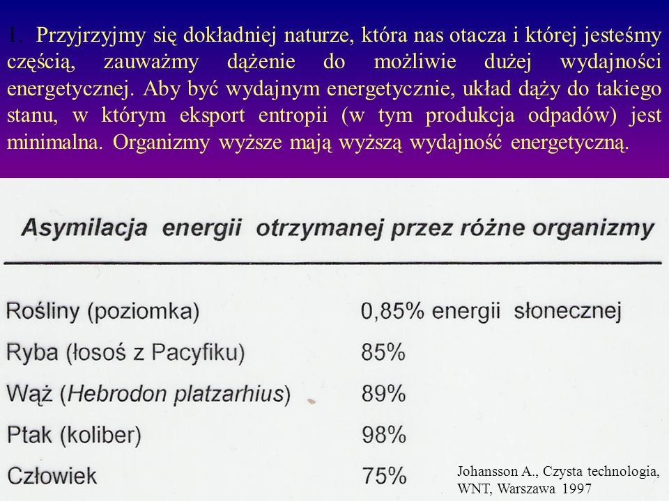 1. Przyjrzyjmy się dokładniej naturze, która nas otacza i której jesteśmy częścią, zauważmy dążenie do możliwie dużej wydajności energetycznej. Aby być wydajnym energetycznie, układ dąży do takiego stanu, w którym eksport entropii (w tym produkcja odpadów) jest minimalna. Organizmy wyższe mają wyższą wydajność energetyczną.