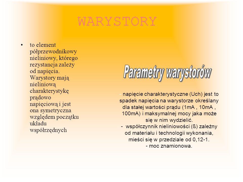 WARYSTORY Parametry warystorów