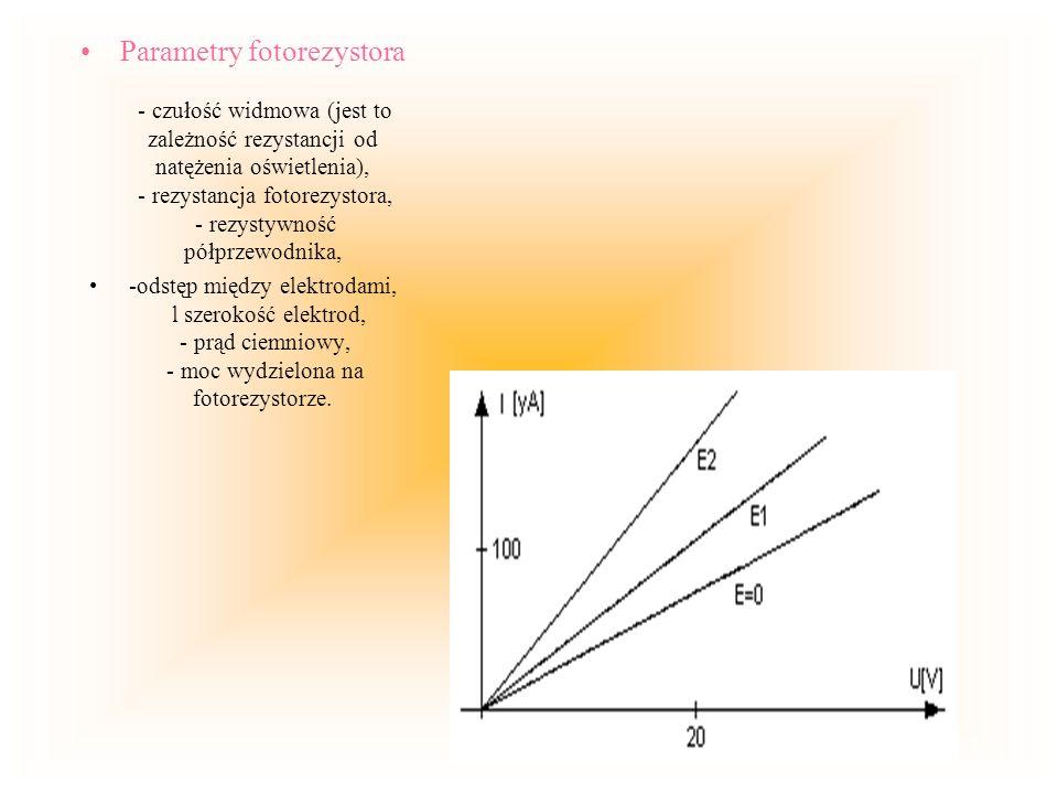 Parametry fotorezystora - czułość widmowa (jest to zależność rezystancji od natężenia oświetlenia), - rezystancja fotorezystora, - rezystywność półprzewodnika,