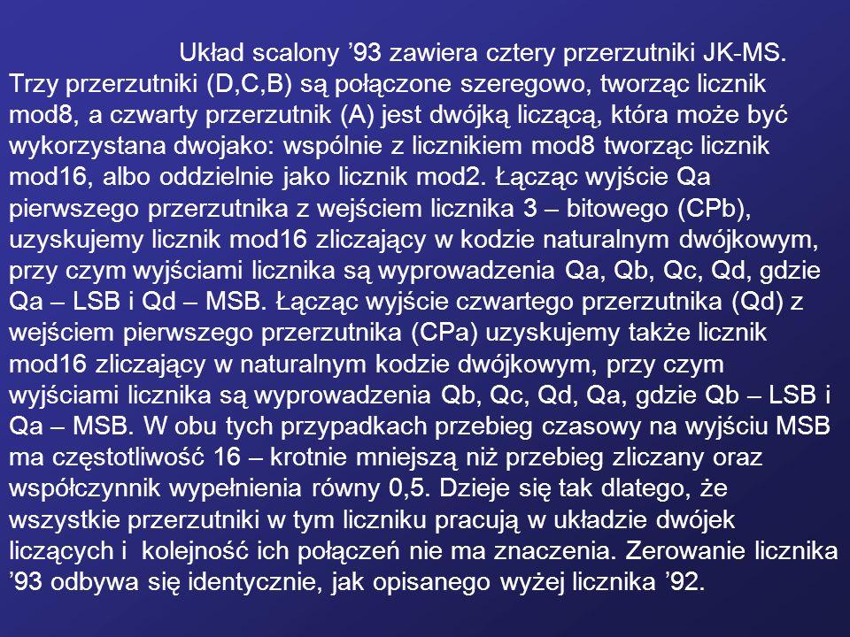 Układ scalony '93 zawiera cztery przerzutniki JK-MS