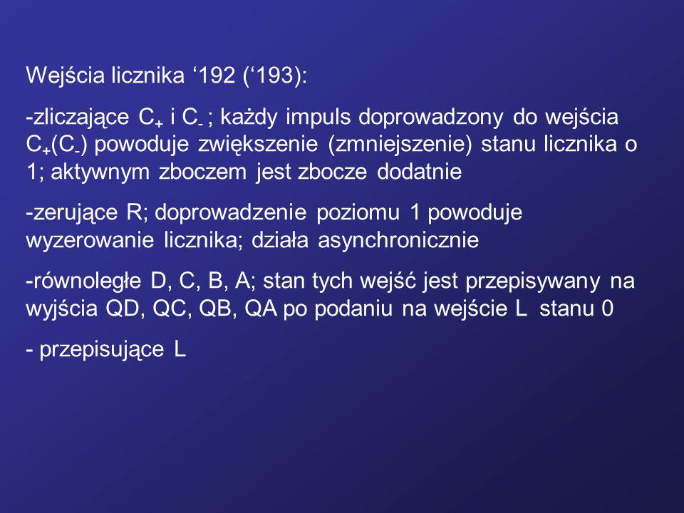 Wejścia licznika '192 ('193):