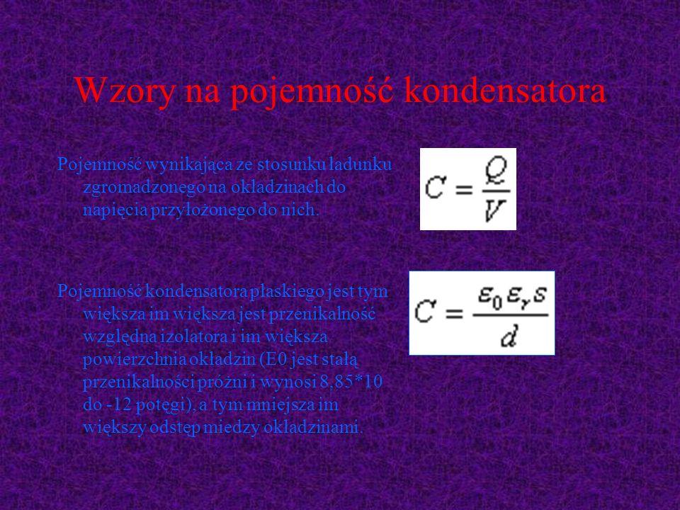 Wzory na pojemność kondensatora