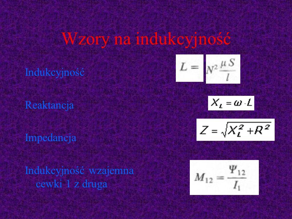 Wzory na indukcyjność Indukcyjność Reaktancja Impedancja
