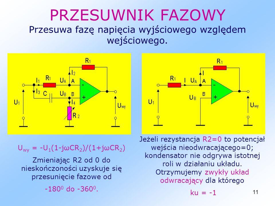 Uwy = -U1(1-jωCR2)/(1+jωCR2)