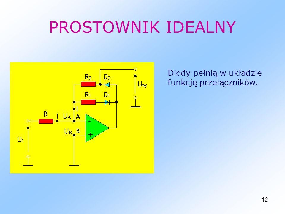 PROSTOWNIK IDEALNY Diody pełnią w układzie funkcję przełączników.