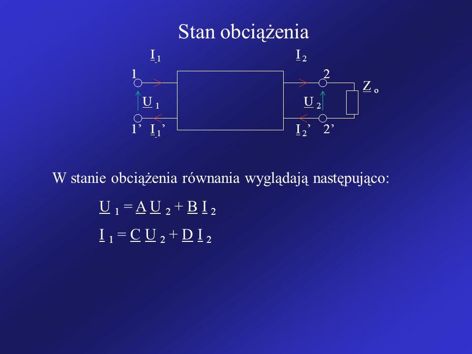 Stan obciążenia W stanie obciążenia równania wyglądają następująco:
