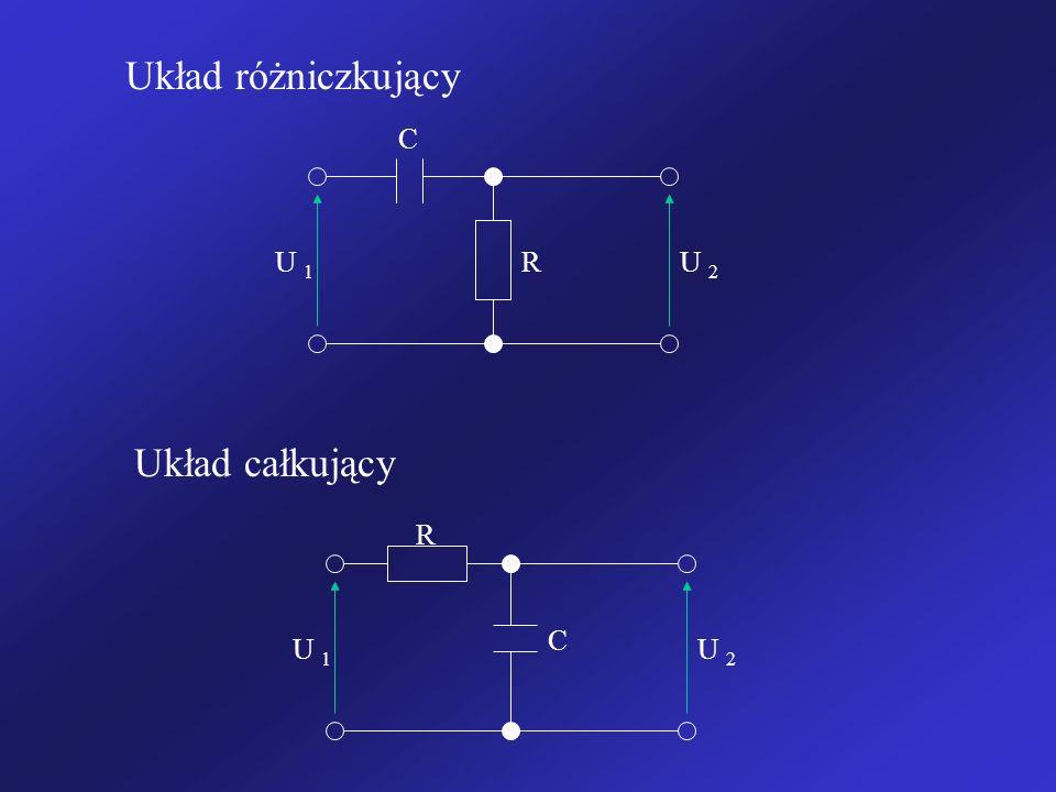 Układ różniczkujący C U 1 R U 2 Układ całkujący R C U 1 U 2