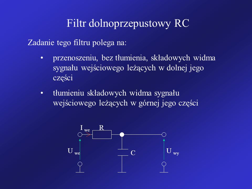 Filtr dolnoprzepustowy RC