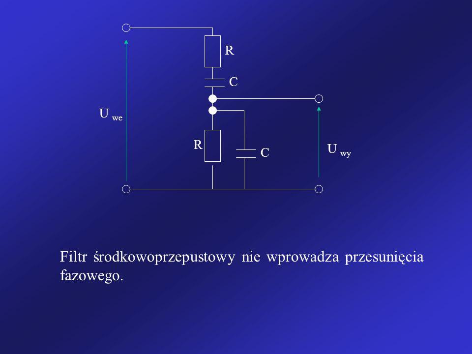 Filtr środkowoprzepustowy nie wprowadza przesunięcia fazowego.