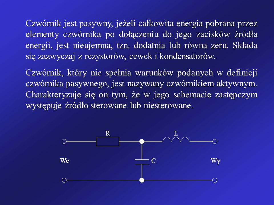 Czwórnik jest pasywny, jeżeli całkowita energia pobrana przez elementy czwórnika po dołączeniu do jego zacisków źródła energii, jest nieujemna, tzn. dodatnia lub równa zeru. Składa się zazwyczaj z rezystorów, cewek i kondensatorów.