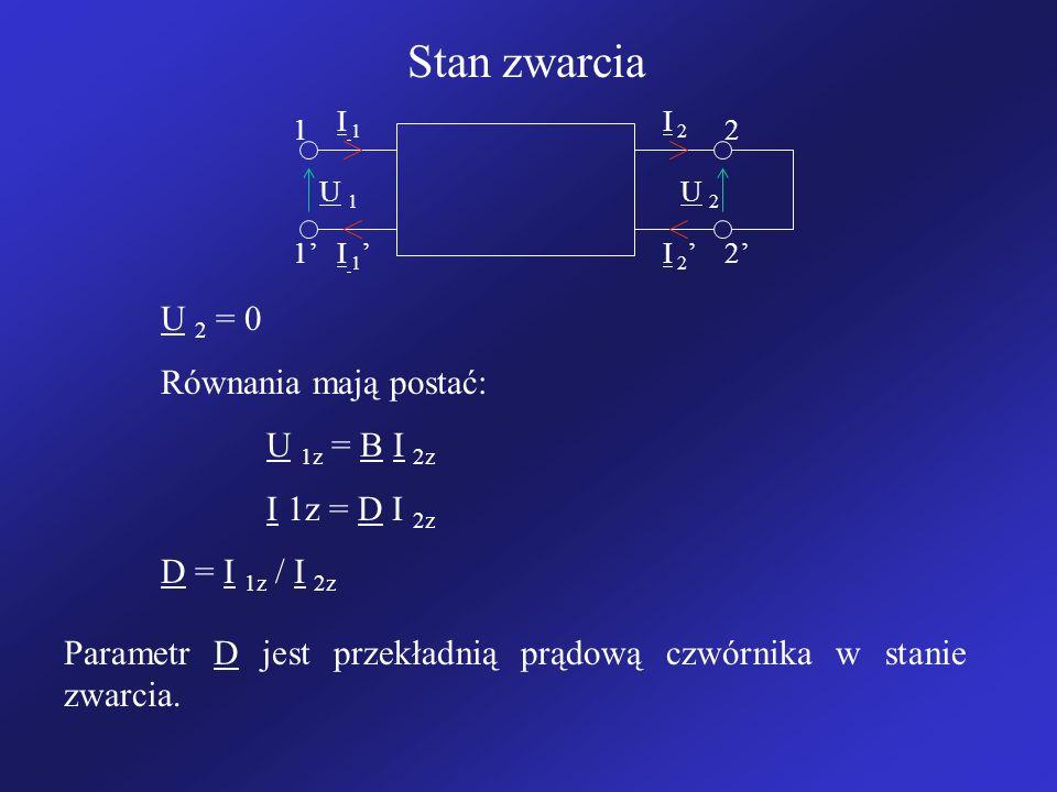 Stan zwarcia U 2 = 0 Równania mają postać: U 1z = B I 2z I 1z = D I 2z
