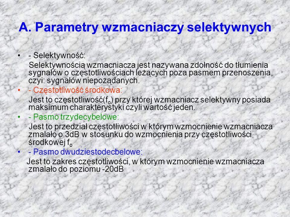 A. Parametry wzmacniaczy selektywnych