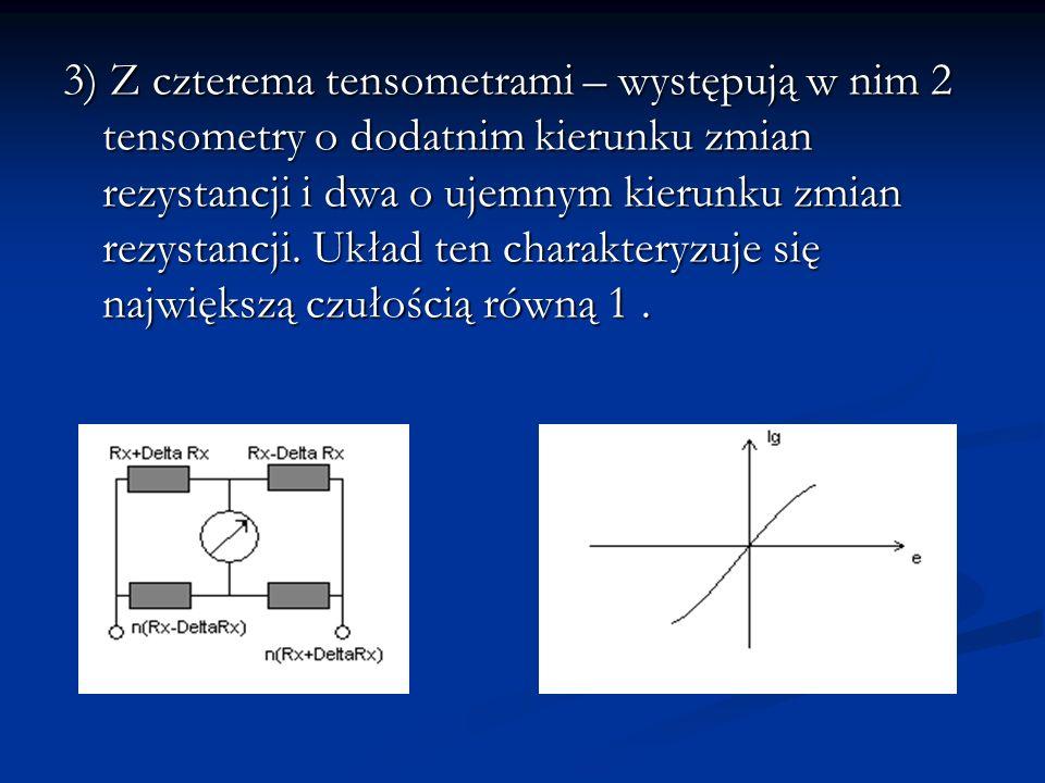 3) Z czterema tensometrami – występują w nim 2 tensometry o dodatnim kierunku zmian rezystancji i dwa o ujemnym kierunku zmian rezystancji.