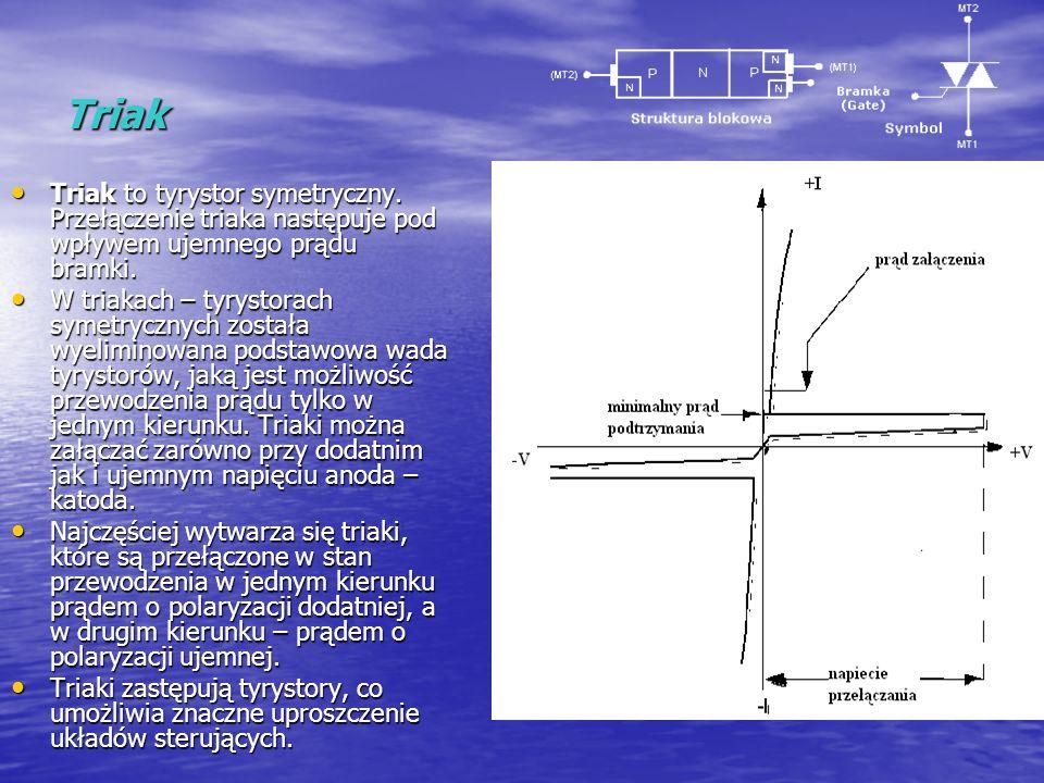 Triak Triak to tyrystor symetryczny. Przełączenie triaka następuje pod wpływem ujemnego prądu bramki.