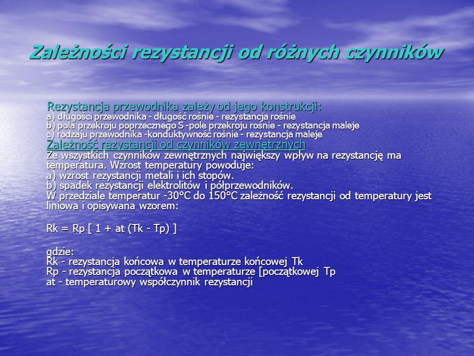 Zależności rezystancji od różnych czynników