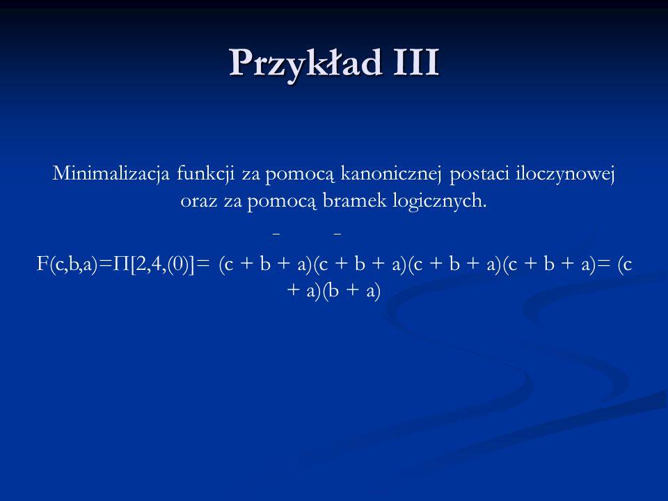 Przykład III Minimalizacja funkcji za pomocą kanonicznej postaci iloczynowej oraz za pomocą bramek logicznych.
