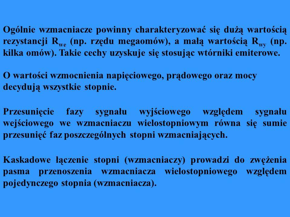 Ogólnie wzmacniacze powinny charakteryzować się dużą wartością rezystancji Rwe (np. rzędu megaomów), a małą wartością Rwy (np. kilka omów). Takie cechy uzyskuje się stosując wtórniki emiterowe.