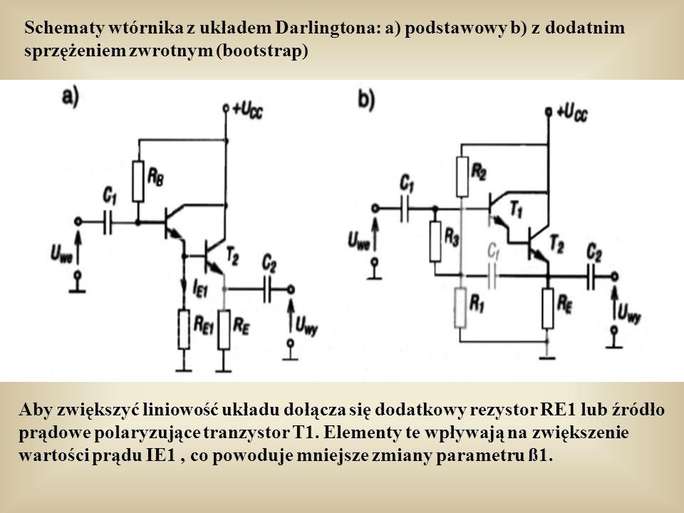 Schematy wtórnika z układem Darlingtona: a) podstawowy b) z dodatnim sprzężeniem zwrotnym (bootstrap)