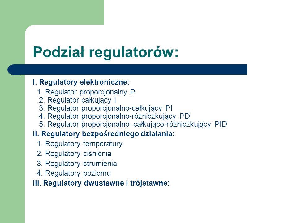 Podział regulatorów: I. Regulatory elektroniczne: