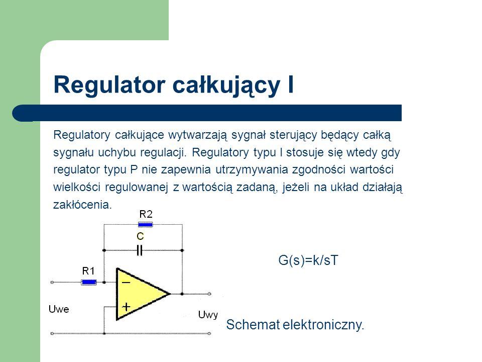 Regulator całkujący I G(s)=k/sT Schemat elektroniczny.
