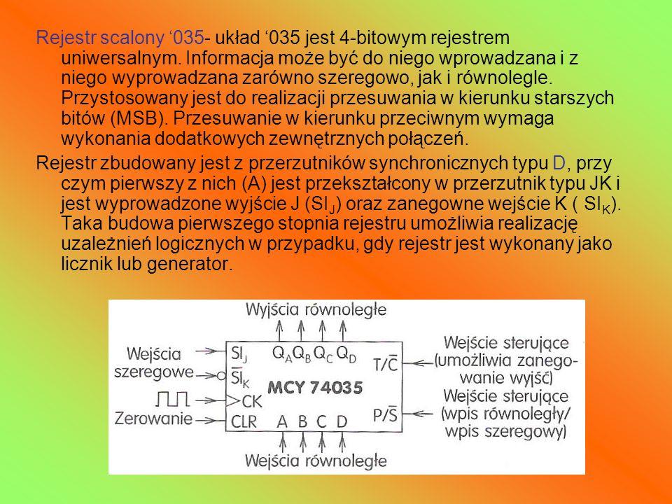 Rejestr scalony '035- układ '035 jest 4-bitowym rejestrem uniwersalnym