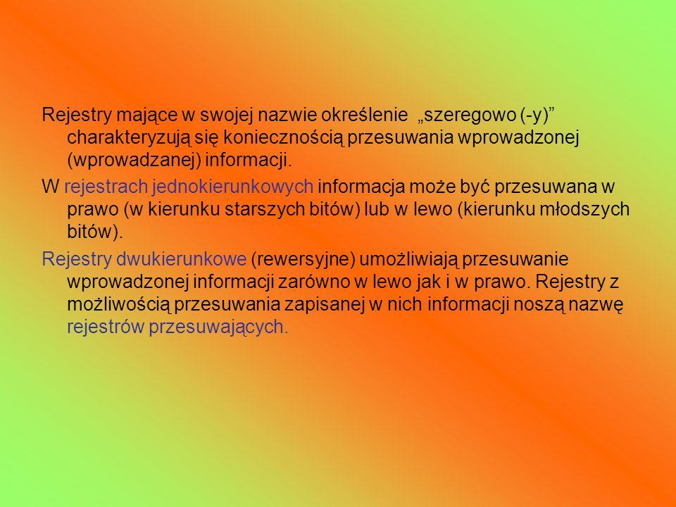 """Rejestry mające w swojej nazwie określenie """"szeregowo (-y) charakteryzują się koniecznością przesuwania wprowadzonej (wprowadzanej) informacji."""