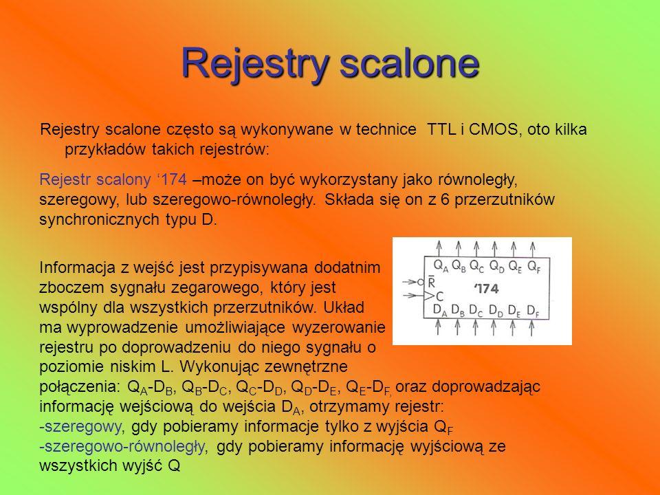 Rejestry scalone Rejestry scalone często są wykonywane w technice TTL i CMOS, oto kilka przykładów takich rejestrów: