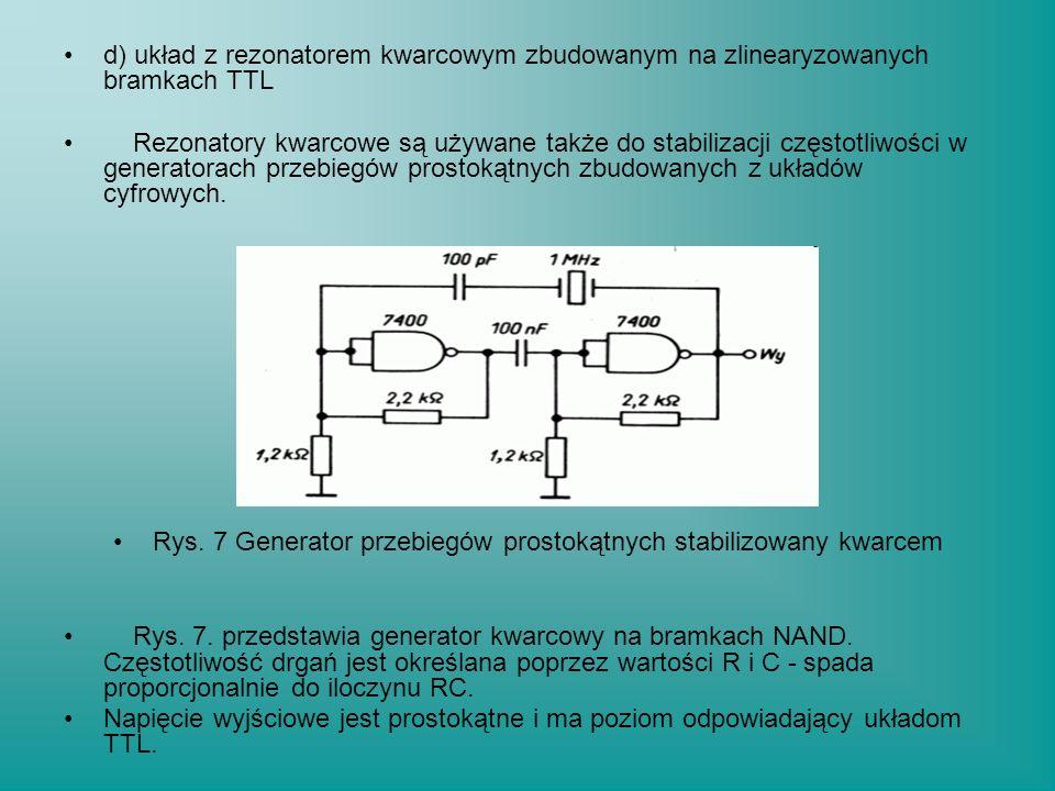 Rys. 7 Generator przebiegów prostokątnych stabilizowany kwarcem