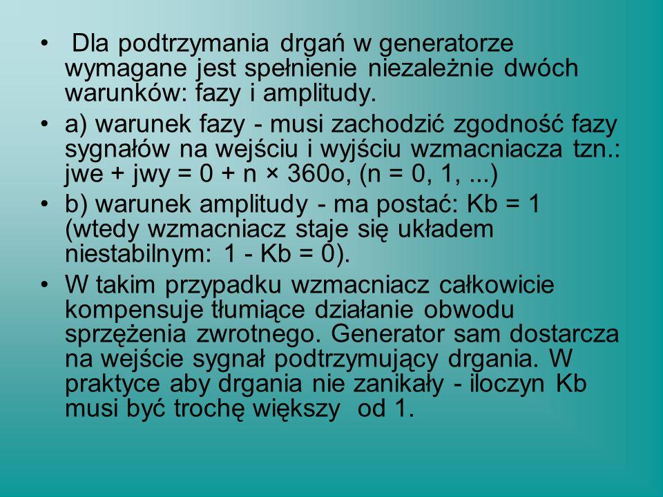 Dla podtrzymania drgań w generatorze wymagane jest spełnienie niezależnie dwóch warunków: fazy i amplitudy.
