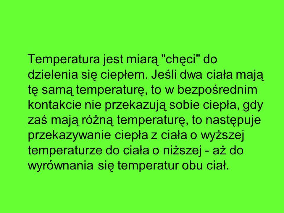 Temperatura jest miarą chęci do dzielenia się ciepłem