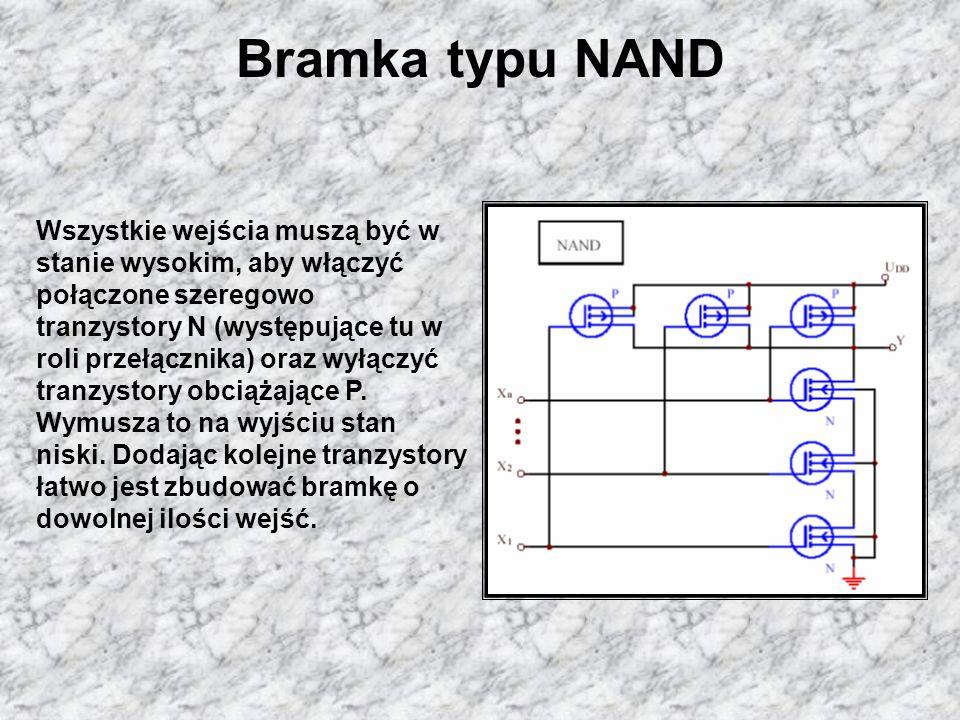 Bramka typu NANDWszystkie wejścia muszą być w stanie wysokim, aby włączyć połączone szeregowo.