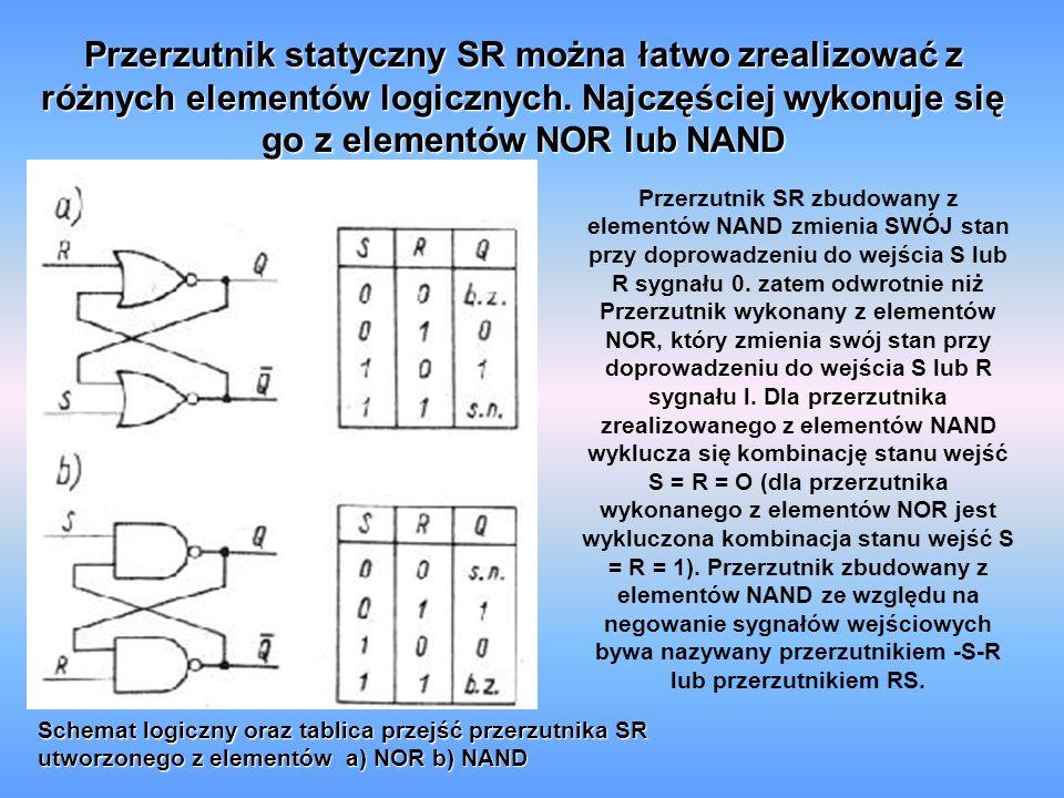 Przerzutnik statyczny SR można łatwo zrealizować z różnych elementów logicznych. Najczęściej wykonuje się go z elementów NOR lub NAND