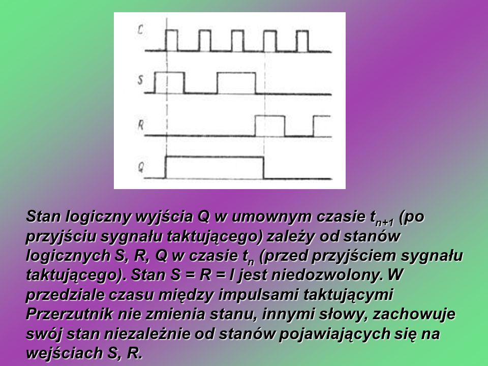 Stan logiczny wyjścia Q w umownym czasie tn+1 (po przyjściu sygnału taktującego) zależy od stanów logicznych S, R, Q w czasie tn (przed przyjściem sygnału taktującego).