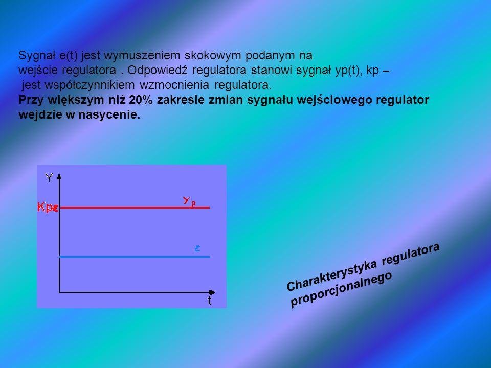 Sygnał e(t) jest wymuszeniem skokowym podanym na